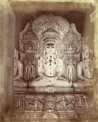 Marble image of Rishabhanatha (Adinatha), the first Jain Tirthankara, in the Ramaji Gandharia Temple, Satrunjaya